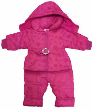 "BABY GIRLS SNOWSUIT 2pc SET DUNGAREE & JACKET ""FLORAL"" PINK BNWT #133"