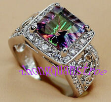 Jewellery Ring sz6/7/8/9/10 Rainbow Mystic stone lady's 925 silver Filled free