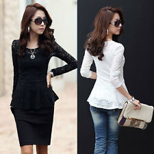 Stylish Women's Crew Neck Lace T-shirt Long Sleeve Shirt Peplum BlouseS Tops 3W