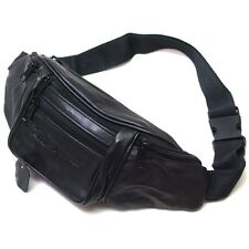 Black Leather Waist Fanny Pack Belt Bag Pouch Travel Hip Purse Womens Mens
