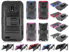 Boost Mobile Warp 4G ZTE Combo Holster HYBRID KICKSTAND Hard Rubber Case Cover