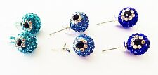 SHAMBALLA  EVIL EYE STUD EARRINGS - 2x10mm BALL  PAVE CZECH CRYSTAL HEARTS - NEW