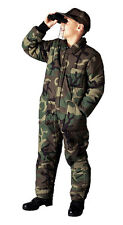 Boys Kids Woodland Army Forest Camo Insulated Zipper Coveralls Suit Pants 1 Pc