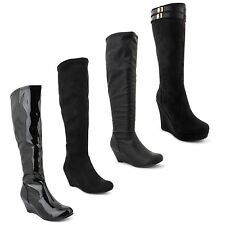 New Ladies Stretch Knee High Wedge Heel Flat Sole Equestrian Long Boots UK 3-8