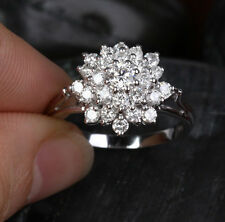Sz 6-10 Brand Jewelry Womens 10KT Gold Filled Luxury White Sapphire Flower Ring
