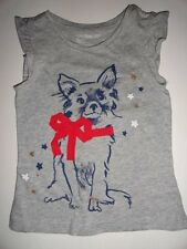 NWT GAP 2T 4T 5T/Years 4th of July Patriotic Dog Stars T-shirt Gray Top New
