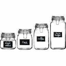 Set Of 2 Glass Deli Airtight Clip Top Vintage Storage Jars Pots With Chalk Board