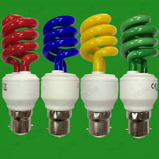 15W Coloured Low Energy CFL Spiral Party Light Bulbs, Bayonet, BC, B22 Lamps
