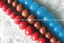 5x8-13x18mm Gold Sand Blue Red Quartz Glass Faceted Roundel Beads 15.5""