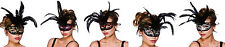 LADIES MILANO EYEMASK MASQUERADE BALL OPERA FANCY DRESS LARGE FEATHER EYE MASK