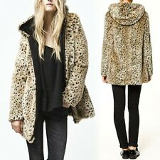 2013 NEW Leopard Faux Furs Thicken Zip Trench Coat Parka Jacket Outerwea r#1
