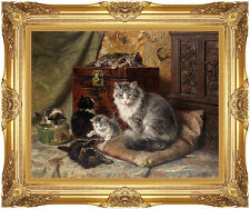 Framed A Cat and Her Cute Kittens at Play Henriette Ronner Knip Repro Art Print
