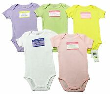 CALVIN KLEIN Layette Baby Girls 5-Pack Bodysuit Set with Cute Name Tags NWT