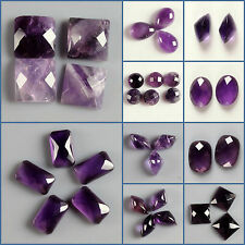 Faceted purple man-made quartz round oval cab cabochon for jewelry making