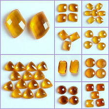 Faceted man-made yellow quartz oval round cab cabochon for jewelry making