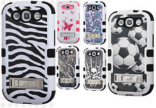 For Samsung Galaxy S III 3 Rubber IMPACT TUFF HYBRID KICK STAND Case Phone Cover
