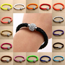 Braided Cord Leather Crystal Bead Wristband Cuff Bracelet Bangle Mother's Gift
