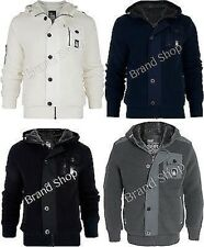 Mens  Crosshatch Winter Knitted Military Hooded Padded Faux Fur Lined  Jacket