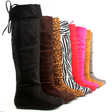 Womens Thigh High Boots Over The Knee Lace Up Fold Over Flat Heels Winter Ladies