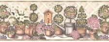 Lattice Fence Flower Garden Potted Flower Bird House White Wall Wallpaper Border