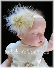 Silver Gold Metallic Ivory marabou Hair Bow Headband Christmas Clip Infant Girls