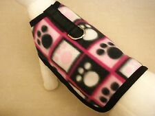 Pink And Black Paws Fleece Dog Harness Clothes Coat