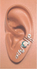 HANDMADE SS OR 14KGF WIRE WRAPPED EAR IVY HALF CUFF FIMO ROSE BEAD