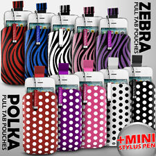 LEATHER POLKA & ZEBRA PULL TAB SKIN CASE POUCH+MINI STYLUS FOR VARIOUS LG MOBILE