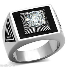 Mens Mounted 1.97ct Clear Stone Silver Stainless Steel Ring