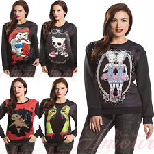 Gothic Personalized Digital Print Quality Pullover Sweater Shirt Blk Causal Top