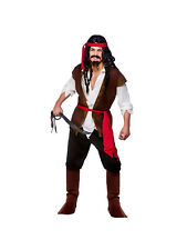 Adult Caribbean Pirate Outfit Fancy Dress Costume Buccaneer Swashbuckler Captain