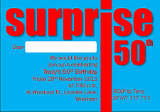 5 Personalised Surprise Birthday Party Invitations 18th 21st 30th 40th 50th 60th