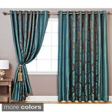 Wide Width Damask Jacquard Grommet 84-inch Curtain Pair