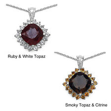 Malaika 7.49ctw Smoky Topaz and Citrine Sterling Silver Pendant