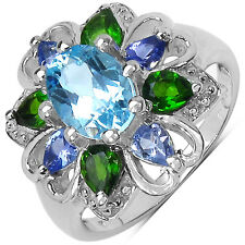 Malaika Sterling Silver Blue Topaz, Chrome Diopside and Tanzanite Ring