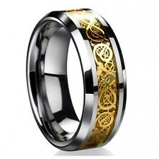 Free Shipping Wedding Band Gold Dragon Tungsten Carbide Celtic Mens Ring New