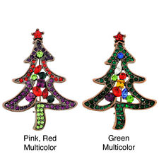 Goldtone Multi-colored Crystal Christmas Tree Brooch