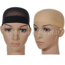 2pcs Nude Beige Black Unisex Nylon Wig Cap Stretch Stocking Liner Snood Mesh