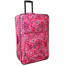 Rockland Deluxe Pink Bandana 28-inch Expandable Rolling Upright Suitcase