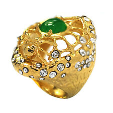 De Buman 14k Goldplated Green Jade and Crystal Spider Ring