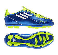 New Boys Adidas F5 TRX HG Blue Lime Moulded Studs Football Boots Size 12-6 UK