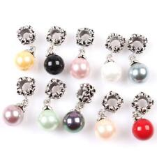 Vintage Silver Carved Flower Round Faux Pearl Pendants Beads Fit Charms Bracelet