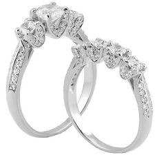 Silver 925 Filigree RD Simulated Diamond Wedding Ring Set SZ 5-9