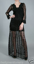 T-Bags Los Angeles Crochet Long Sleeve Maxi Dress in Black