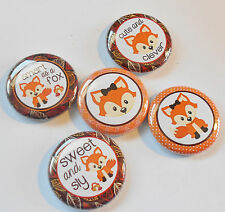 "Cute Little Fox Flatback - Pin Back Buttons 1"" for Bows Embellishment"