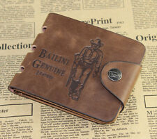 Mens Leather Card Clutch Money Clip Cad Holder Bifold Wallet Pockets Purse J6P8