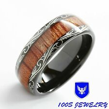 Mens Tungsten Ring Wood Inlay Black Dome Edge Wedding Band Size 6-16 Comfort Fit