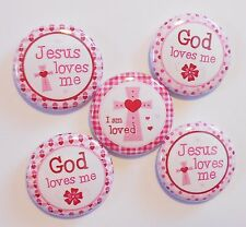 "God Loves Me Pink Religious Flatback - Pin Back Buttons 1"" for Bows Embellish"