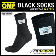IAA/724 OMP KNITTED NOMEX RACING FIREPROOF SOCKS BLACK - 4 DIFFERENT SIZES BY OM