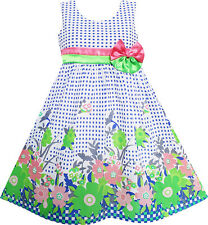 Sunny Fashion Girls Dress Double Bow Tie Green Flower Children Clothes Size 4-12